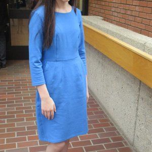 Beautiful Blue Midi-Dress Three-Quarter Sleeves